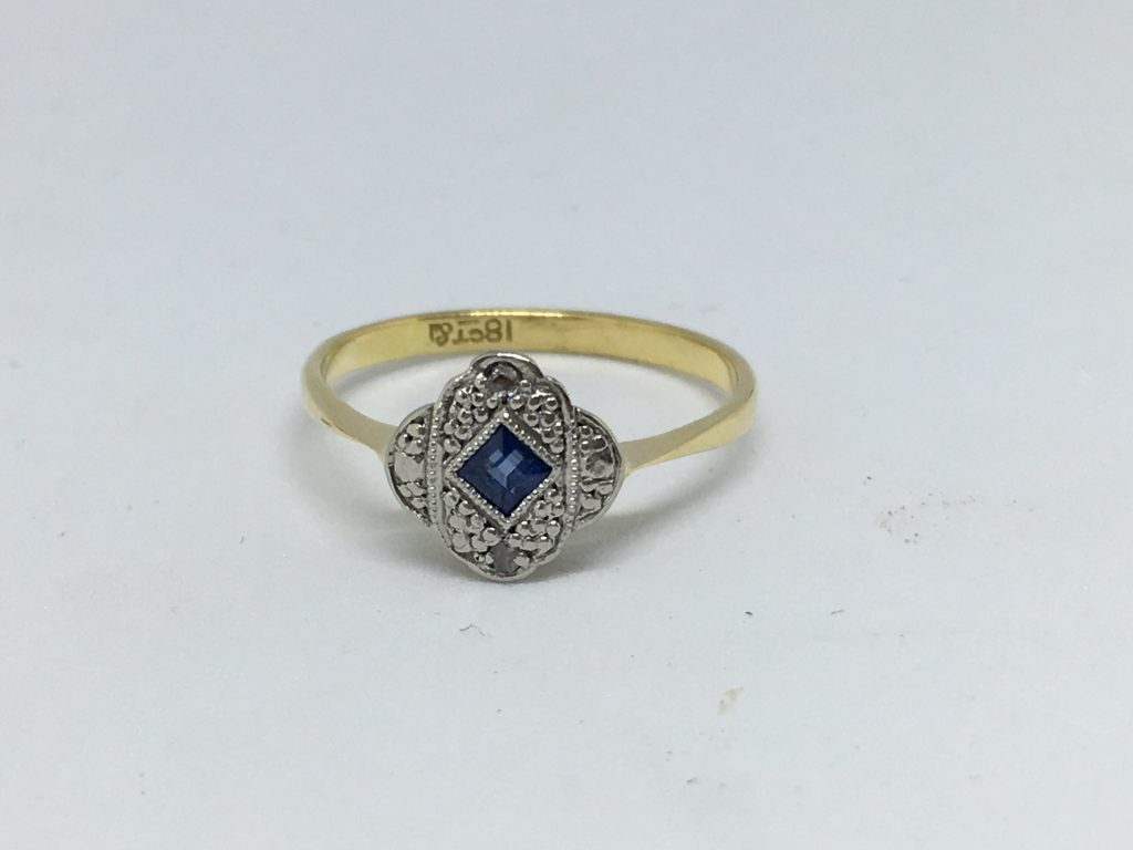 18ct Yellow Gold And Platinum Art Deco Sapphire And
