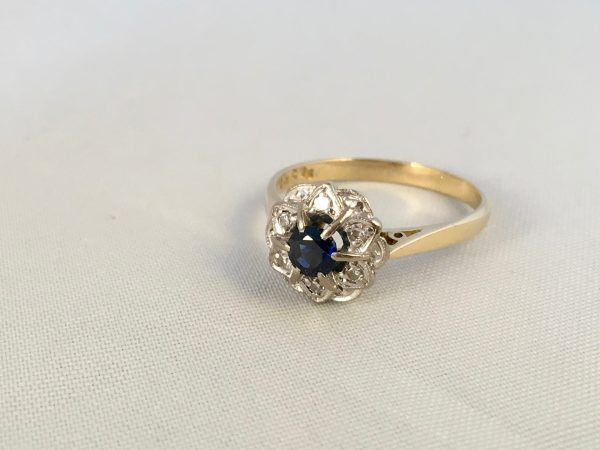 18ct Yellow Gold Art Deco Style Sapphire And Diamond Cluster Ring