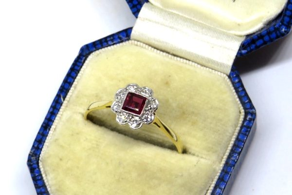 Ruby and Diamond Art Deco Flower Ring