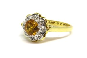 Citrine and Diamond Cluster Ring