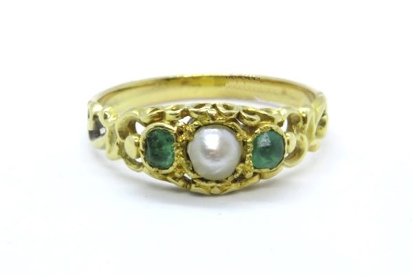 emerald and seed pearl ring