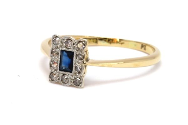 Art Deco Platinum Sapphire & Diamond Panel Ring
