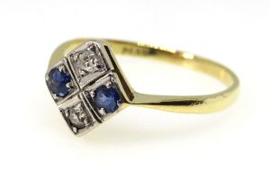 Art Deco Sapphire and Diamond 4 Stone Ring