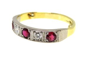 14ct Ruby and Diamond Half Hoop Ring