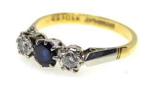 vintage sapphire and diamond trilogy ring