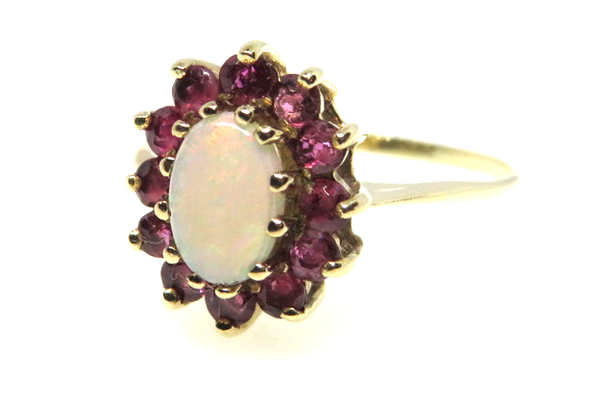 vintage opal and ruby ring