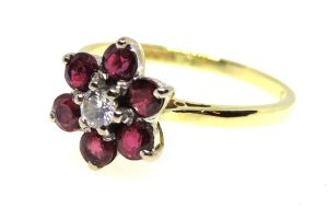 vintage ruby and diamond flower cluster ring