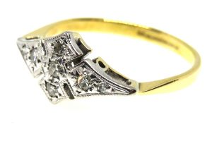 art deco diamond lozenge ring
