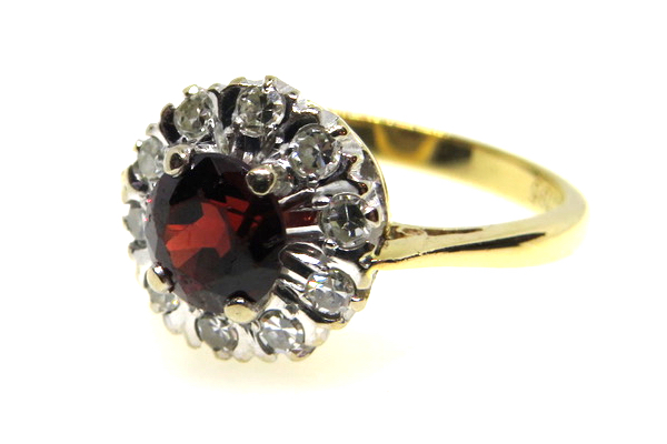 vintage garnet and diamond ring