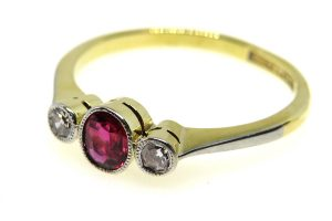art deco ruby and diamond trilogy ring