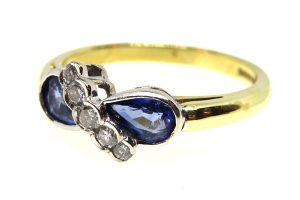 vintage sapphire and diamond twist ring