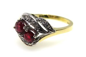 ruby and diamond twist ring vintage