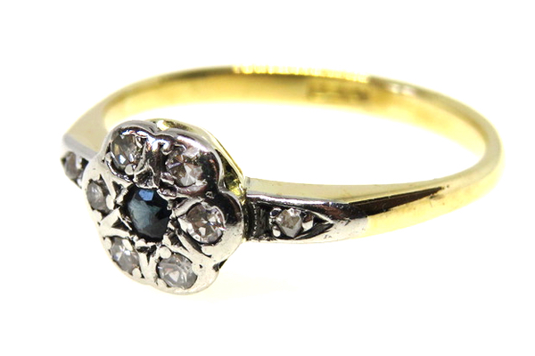 18ct Yellow Gold & Platinum Art Deco Sapphire and Diamond Ring