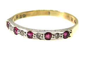 9ct Yellow Gold Ruby and Diamond Half Hoop Ring