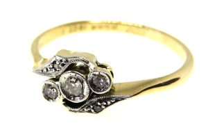 18ct Yellow Gold & Platinum Edwardian Trilogy Ring