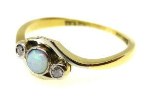 art deco opal and diamond trilogy ring