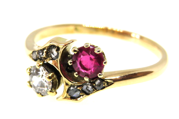 ruby and diamond crossover ring