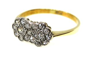 art deco diamond double cluster ring