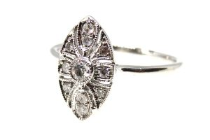 white gold diamond plaque ring