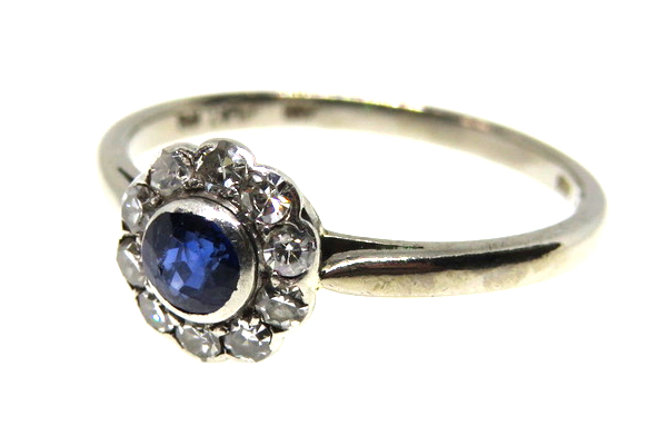 18ct White Gold & Platinum Sapphire and Diamond Cluster Ring