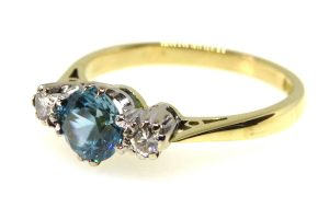 18ct Blue Zircon and Diamond Ring