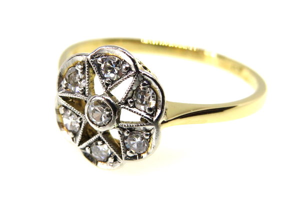 18ct Yellow Gold Edwardian Diamond Cluster Ring