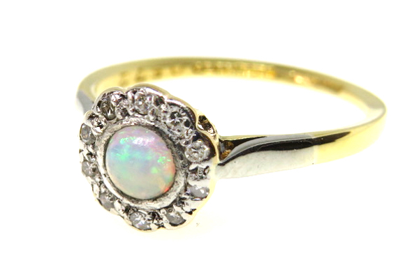 Edwardian Opal and Diamond Cluster Ring