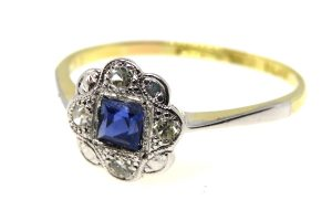 18ct yellow gold art deco sapphire and diamond ring