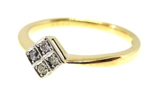 18ct yellow gold & platinum art deco diamond four stone ring