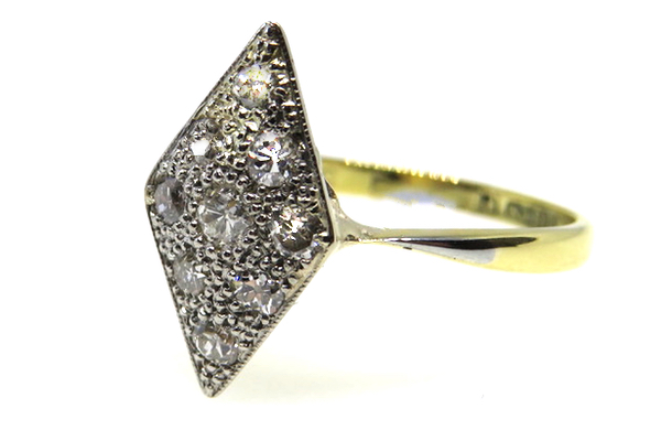 18ct Yellow Gold & Platinum Art Deco Diamond Lozenge Ring
