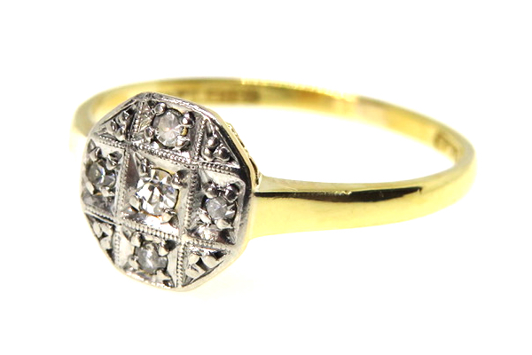 18ct Yellow Gold Diamond Panel Ring