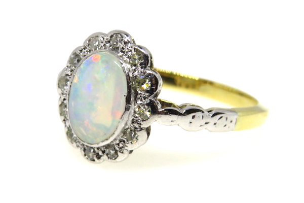 18ct Yellow Gold & Platinum Opal and Diamond Ring