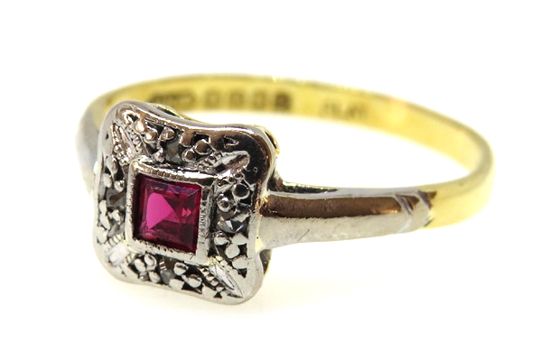 18ct Yellow Gold & Platinum Art Deco Ruby and Diamond Ring