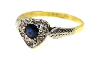 18ct Sapphire and Diamond Love Heart Ring