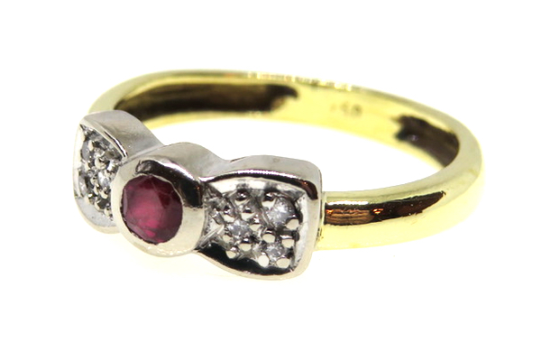 ruby and diamond bow shaped ring