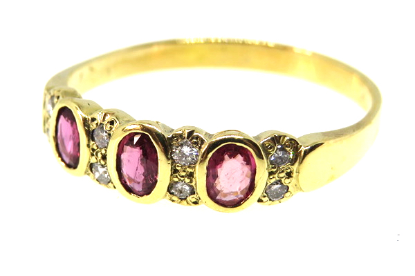 vintage ruby and diamond half hoop ring
