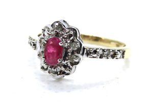 9ct yellow gold vintage ruby and diamond cluster ring