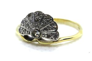 art deco diamond fan ring