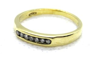 18ct Yellow Gold Channel Set Diamond Ring