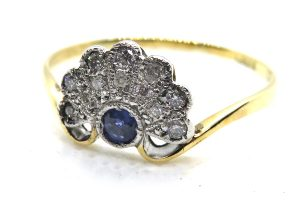 art deco sapphire and diamond fan ring