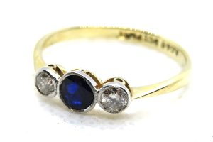 9ct Sapphire and Diamond Trilogy Ring