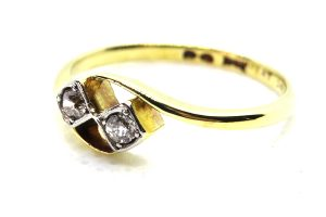 art deco diamond two stone twist ring