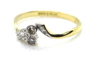 art deco diamond trefoil ring