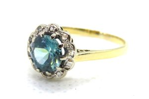 vintage blue zircon and diamond ring