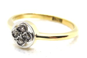 art deco diamond four stone ring
