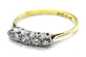 vintage diamond five stone ring