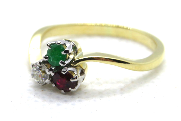 18ct Ruby Emerald and Diamond Trilogy Ring