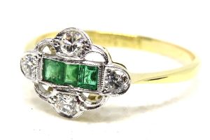 18ct yellow gold & platinum art deco emerald and diamond ring