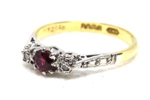 18ct yellow gold vintage ruby and diamond trilogy ring