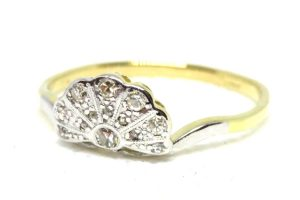 18ct Yellow Gold & Platinum Art Deco Diamond Fan Ring
